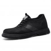 Black British Elevator Work Shoes Genuine Leather Casual Outdoor Shoes Add Taller 2.6inch / 6.5cm