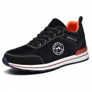 Black Corduroy Height Increasing Sneakers Lace Up Lightweight Casual Skate Shoes Get Taller 2.4inch / 6cm