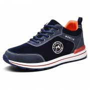 Blue Corduroy Height Taller Sneakers Lace Up Lightweight Casual Skate Shoes Increase 2.4inch / 6cm