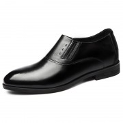 2019 Black Elevator Wedding Shoes Elastic Luxury Formal Dress Loafers Add Height 2.6inch / 6.5cm