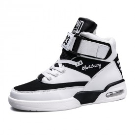 Black-White Trendy High Top Sneakers Add You Taller Buckle Elevator Skate Shoes Height 3.6inch / 9cm