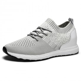 Grey Elevated Flyknit Walking Shoes Breathable Hidden Lift Sock Sneakers Increase 2.4inch / 6cm