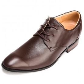 European Pointed Elevator Shoes Brown Hidden Heel Formal Shoes Increase 2.5inch / 6.5cm