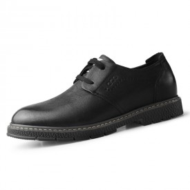 2020 Classic Elevator Work Shoes Black Spacious Toe Casual Taller Shoes Height 2.4inch / 6cm