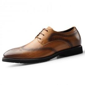 2020 Lightweight Lift Brogue Shoes Yellow Premium Leather Wingtip Elevator Formal Oxfords Heighten 2.6inch / 6.5cm
