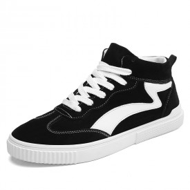 Street Elevator Trainers Black High Top Trendy Skate Shoes Taller 2.8inch / 7cm