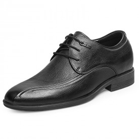 All Match Elevator Casual Shoes Soft Calfskin Height Increasing Lace Up Business Shoes 2.4inch / 6cm