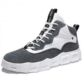 Grey High Top Skateboarding Shoes Make You Taller Korean Trendy Elevator Sneakers 2.8inch / 7cm