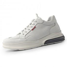 2020 Breathable Height Elevator Skate Shoes White Korean Hidden Lift Shoes Get Taller 2.6inch / 6.5cm
