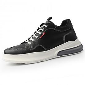 2020 Breathable Height Increasing Skate Shoes Black Korean Hidden Taller Shoes Increase 2.6inch / 6.5cm
