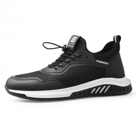 Lightweight Height Elevator Fashion Sneakers Breathable Black Flyknit Mesh Lift Casual Sports Shoes Taller 2.4inch / 6cm