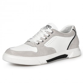 2021 Height Increasing Skateboard Shoes White Elevator Fashion Sneakers Taller 2.4 inch / 6 cm