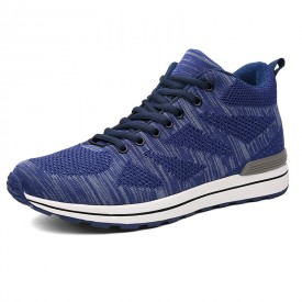Breathable Taller Sneakers Add Height 2.8inch / 7cm Blue Elevator Mesh Shoes