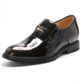 Genuine leather elevated dress shoes 6cm / 2.4inch slip on wedding shoes