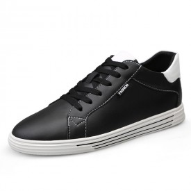 Comfortable Low Top Elevator Skate Shoes Black Leather Casual Walking Shoes Increase 2.6inch / 6.5cm