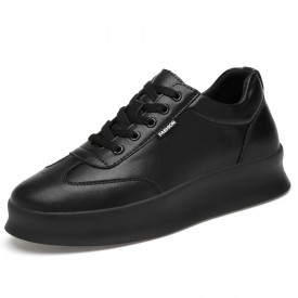 2020 Easy Match Hidden Lift Skate Shoes Low Top Black Leather Fashion Sneakers Add Tall 3inch / 7.5cm