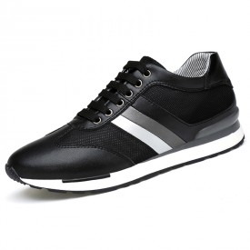 Breathable Elevator Skateboarding shoes Increase 3.2inch / 8cm Black Casual Mesh Sneakers