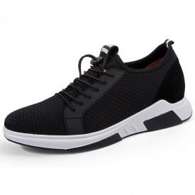 Stylish Height Increasing Fitness Shoes Black Lightweight Mesh Slip On Trainers Taller 2.8inch / 7cm