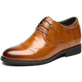 Superior Height Increasing Dress Shoes 3.2inch / 8cm Brown Calfskin Cap Toe Taller Wedding Shoes