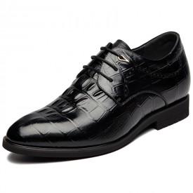 Elegant Taller Wedding Shoes Increase Height 3.2inch / 8cm Crocodile Pattern Elevator Formal Shoes