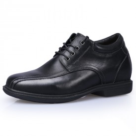 Extra Taller Business Shoes Black Genuine Leather Casual Shoes Get Height 9cm / 3.5inch