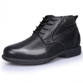 High Top Elevator Business Shoes Black Lace Up Ankle Oxfords Add Taller 9cm / 3.5inch