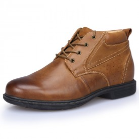 High Top Elevator Business Shoes Brown Lace Up Ankle Oxfords Get Taller 9cm / 3.5inch