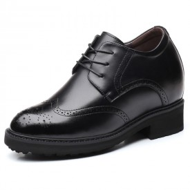 4inch Wing Tip Elevator Brogue Shoes Lace Up Taller Dressy Formal Shoes Increase 10cm