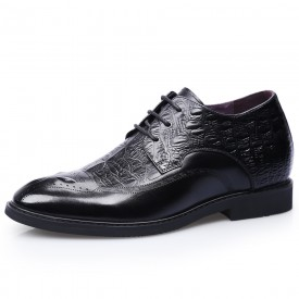 Black Cowhide Elevator Brogue Shoes Croc Pattern Wing Tip Formal Business Shoes Taller 2.8inch / 7cm