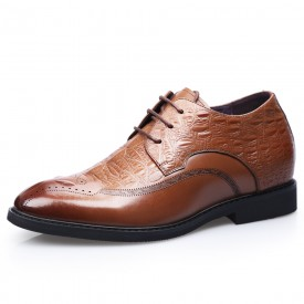 Brown Cowhide Elevator Brogue Shoes Croc Pattern Wing Tip Formal Business Shoes Height 2.8inch / 7cm