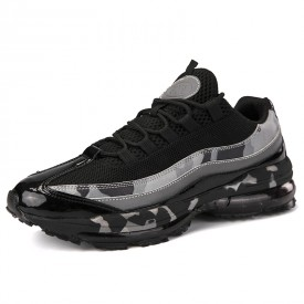 Black Elevator Air Cushion Shoes Breathable Jogging Walking Shoes Increase Height 2.4inch / 6 cm