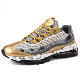 Gold Elevator Air Cushion Shoes Breathable Jogging Walking Shoes Add Height 2.4inch / 6cm