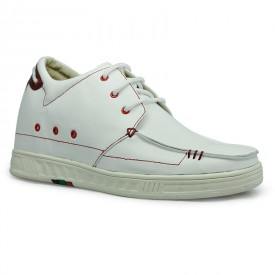 White calf leather casual shoes get taller 7cm/2.75inch height increasing shoes