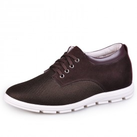 Brown Suede Leather Nets Taller Shoes For Men Get Height 6.5cm / 2.5inch Casual Shoes
