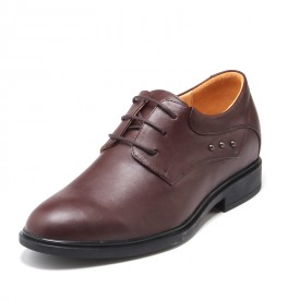 Personality Cow Leather Tall Ancient Style Oxfords Add Height 5.5cm / 2.17 inch Brown Lace Up Work Shoes