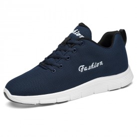 Blue Fashion Elevator Tennis Shoes Breathable Knit Mesh Walking Shoes Taller 2.6inch / 6.5cm