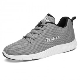 Grey Fashion Elevator Tennis Shoes Breathable Knit Mesh Walking Shoes Increase 2.6inch / 6.5cm