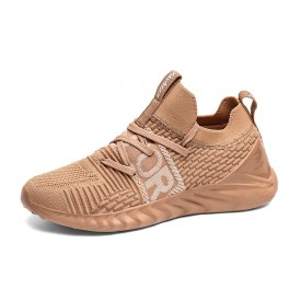 Shock Absorbing Elevated Flyknit Shoes Khaki Lightweight Running Shoes Add Taller 2.2inch / 5.5cm