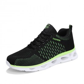 Black-Green Elevator Athletic Shoes Performance Flyknit Running Shoes Get Height 2inch / 5cm
