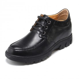 Fashion Black Cow Leather Elevator Casual Shoes Gain Tall 6.5cm / 2.56inch