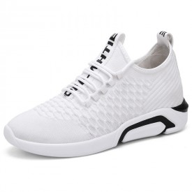 White Breathable Men Taller Sneakers Korean Lightweight Mesh Shoes Add Height 2.8inch / 7cm
