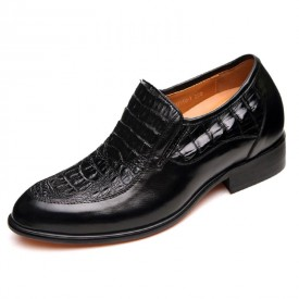 Luxury slip-on crocodile elevated height dress shoes gain tall 6.5cm / 2.56inches wedding shoe
