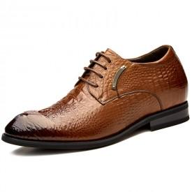 Luxury Groom Wedding Shoes Add Taller 3.2inch / 8cm Brown Alligator Grain Elevator Shoes