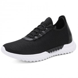 Relaxed Slip On Elevator Trainers Black Lightweight Hidden Lift Shoes Increase 2.8inch / 7cm