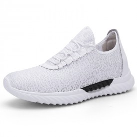 Relaxed Slip On Elevated Trainers White Lightweight Hidden Lift Shoes Gain Tall 2.8inch / 7cm