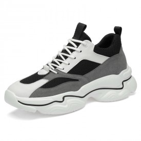 2020 New Elevator Fashion Sneakers Black Mesh Height Increasing Sports Shoes Add Taller 3.2inch / 8cm