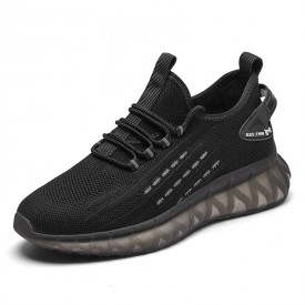 Refined Elevator Black Flying Shoes Lightweight Slip On Fashion Sneakers Gain Taller 2.8inch / 7cm