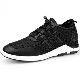 Trendy Elevated Mesh Shoes Add Taller 2.4inch / 6cm Black Men Sneakers
