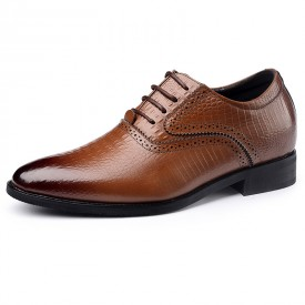 Italian Crocodile Pattern Elevator Oxford Shoes 2.6inch / 6cm Brown Pointed Taller Business Shoes