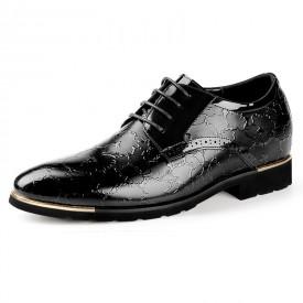 Exalted Elevator Dress Shoes Taller 2.4inch / 6cm Black Carve Patterns Pointy Formal Shoes